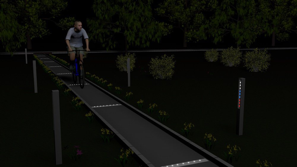 Подсветка велосипедной дорожки