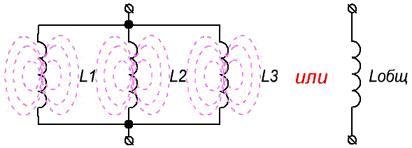 Параллельное соединение катушек индуктивности