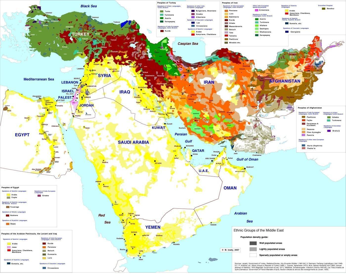 карта этносов Ближнего и Среднего Востока