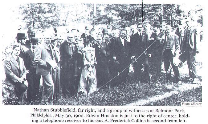 демонстрации радио в 1902 ом Н.Стаблфилдом в Филадельфии