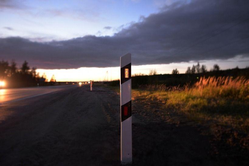 Дорожный сигнальный столбик с подсветкой от теллурических токов на Егорьевском ш.